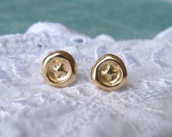 Christmas Sale: Gold Stud Earrings - Cross Symbol - 18k Gold Plated Earrings - Gold Post Earrings | Christmas Gift