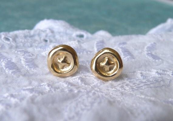 Gold Stud Earring - Cross - 18k Gold Plated - Gold Earring