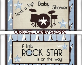 printable rock a bye baby rock star baby shower candy wrappers. Black Bedroom Furniture Sets. Home Design Ideas