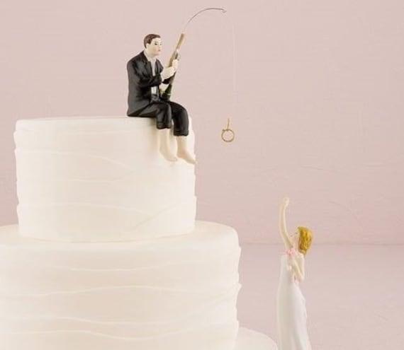 Hooked On Love Bride Groom Couple Wedding Cake Topper Romantic Porcelain Fishing Grooms Fisherman Idea Fish Loving Sports