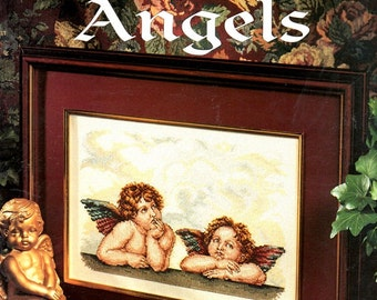 Raphael's Angels Pensive Waiting Chubby Cherubs Wings Fluffy Clouds Counted Cross Stitch Embroidery Pattern Craft Leaflet 2634 Leisure Arts