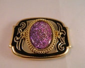 SALE - Pretty in Pink II Dichroic Fused Glass Belt Buckle, GB19118 style