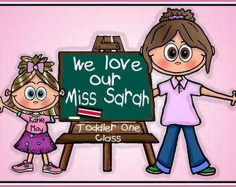 Custom Personalized Graphic School  Preschool Kindergarten Pre-K First Grade Graduation Teacher Gift  Graphic