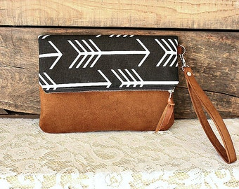 Arrow fabric Clutch Black White canvas with vegan suede trim Wrist strap   --MADE TO ORDER--