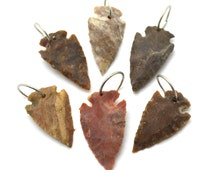 Arrowhead Pendants, 6 pcs, Drilled Arrowheads, Indian Arrowheads,   Arrowhead Pendant - P115