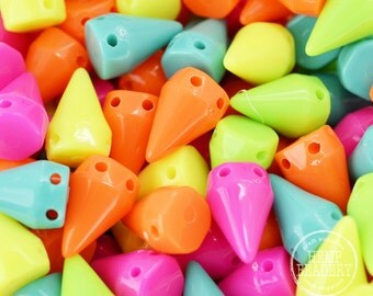 Neon Spikes,  50 Pcs, 16mm Tall,  Neon Beads, Two Hole Spikes, Plastic Spikes -B42