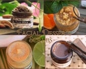 Organic Facial Scrub - Facial Dessert collection - choose your flavor - yummy delicious exfoliant for face