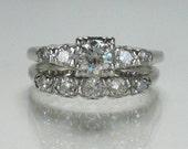 Vintage Platinum and Diamond Bridal Set - 0.63 Carats - Appraisal Included
