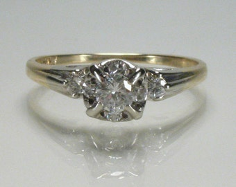 Vintage Diamond Engagement Ring - Seven Diamond - 0.30 Carats Diamond Total Weight - Illusion Head