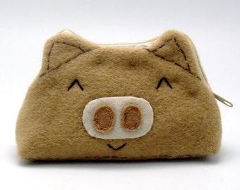 Pig - Zipper pouch / coin purse (padded) (ZS-123)
