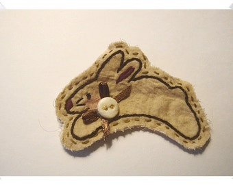 Bunny/ Muslin Fabric- Ornament, Magnet, Pin OR Key Ring/  Handmade**