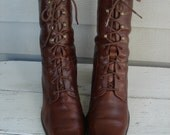 Vintage Brown Leather Self Tie Ankle Boots Women's Size 11 Granny Lacer Victorian Inspired