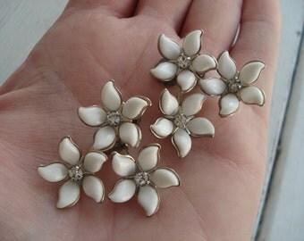 Vintage 1960's White Flower Spray Rhinestone Clip Silver Earrings Woodland Nature Inspired