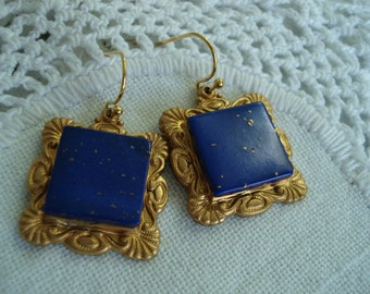 Lapis Lazuli and Gold Vintage Inspired Earrings Hip to be Square