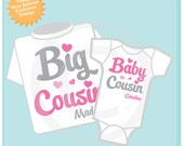 Set of 2 Personalized Pink and Grey Big Cousin and Baby Cousin Shirt or Onesie Pregnancy Announcement (01312014j)