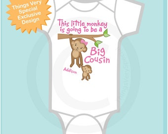 This Little Monkey is Going to Be A Big Cousin Onesie, Big Cousin Shirt, Personalized Big Cousin Monkey Shirt with Little Cousin (10032013a)