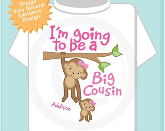 I'm Going to Be A Big Cousin Shirt, Big Cousin Onesie, Personalized Big Cousin Shirt, Monkey Shirt with Girl Baby (02182014a)