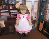 "Pink Rosebud Dress with White Apron for  American Girl Doll Kirsten or Similar 18"" dolls"