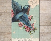 Business Cards - Custom Business Cards - Jewelry Cards - Earring Cards - Display Cards - Vintage Bird, Bird with Letter - No. 132