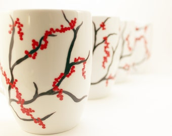 Hand painted coffee mugs with red berries, winter berries, holiday coffee mugs, winter mugs, set of 2