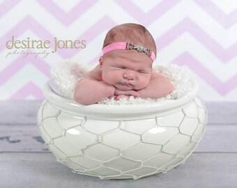 Rhinestone Headband,Pink Rhinestone Headband,Newborn Headband,Baby girl Headband,Girl Headband,Prom,Photo Prop,Stephanie Headband