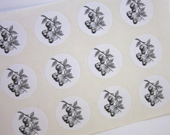 Cherry Cherries Stickers One Inch Round Seals