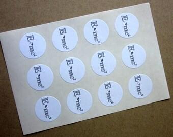 E = mc2 Stickers One Inch Round Seals
