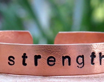 Strength Hand Stamped Bracelet, Copper, Customized Jewelry, Affirmation Bangle