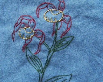 Yellow lady slipper orchid tea towel- hand stitched