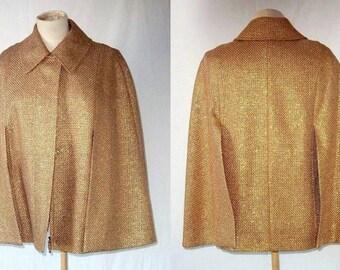 ESCADA Couture Kurzjacke Gold Cape Jacket - Metallic Tweed - Women - 4 Small