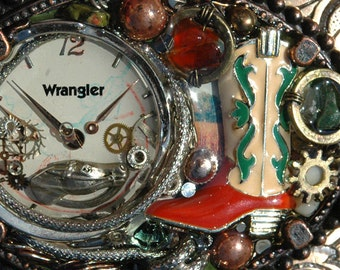 Vintage Costume Jewelry Western Steampunk Belt Buckle Cowboy Boot and Watch Gears