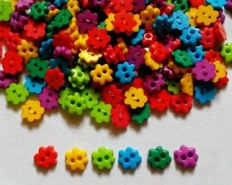 100 pcs - Cute Tiny buttons - flower - size 6 mm - mix color