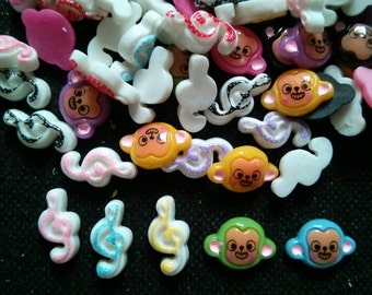 20 pcs cute monkey and melody music cabochons flatback for crafts findings