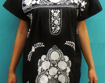 Mexican Black Mini Dress Elegant Tunic Floral Embroidered Handmade Spring / Summer Collection  Medium