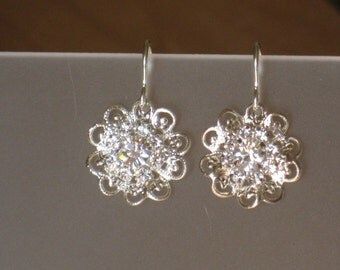 Swarovski Sterling silver and clear crystal earrings