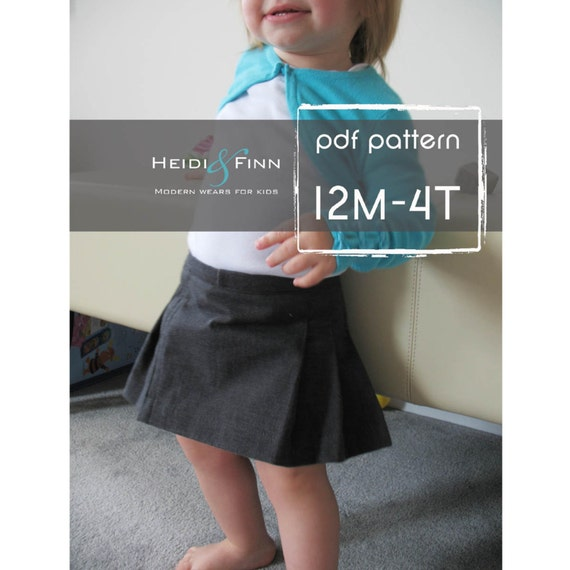 Girly Pleated Skirt pattern and tutorial PDF 12M-4T EASY Sew