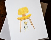 Pets and Famous Furniture Boxed Notes - Pup Under Eames Set of 8