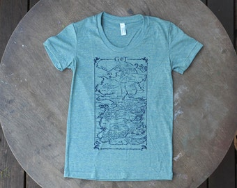 Game of Thrones Map of Westeros Tee / American Apparel Tee / Pastel Green / Women's Tee