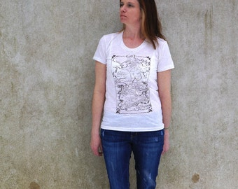 Game of Thrones T-Shirt Map of Westeros Tee on American Apparel Oatmeal color Women's Track Tee