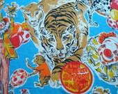 Vintage Circus Ringling Bros bedspread Fieldcrest Twin fringe Juvenile Tiger Clown more