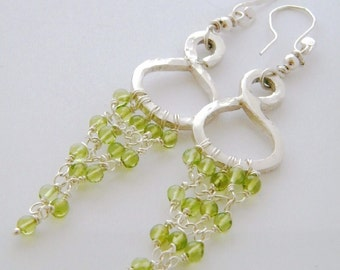 Peridot 925 Sterling Silver Hoop Chandelier Dangle Earrings