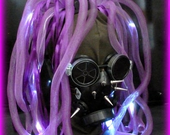 Steampunk Gas Mask goggles Sci-fi Cyber PUNK Sucker punch-LED light dread lock cyberlock goth RAVE