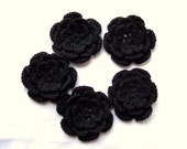 Crocheted flower 3 inch organic cotton black set of 5