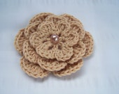 Crochet flower motif 3.5inch one flower with bead driftwood