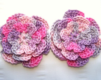 Crochet flower 3 inch pima cotton prinsess mix