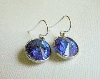 Crystal Sapphire Earrings, Sterling Silver earwires, September Birthday, Gift for, Friend, Sister, Mother, September Birthstone