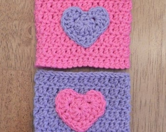 Crocheted Heart  Cup Cozy/ Crochet Cozy with Heart/ Crocheted Tumbler/ Pink and Purple Cozy