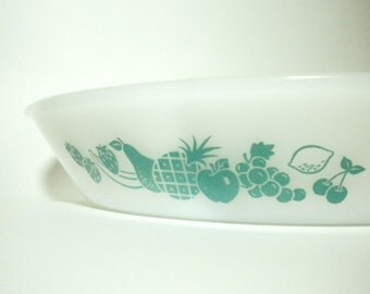 Glasbake Oval Divided Casserole Baking Dish Milk Glass with Aqua Fruit Design J-2352 17