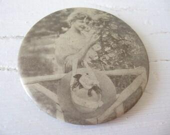 1900's Celluloid Photo Pocket Mirror, Bastian Bros