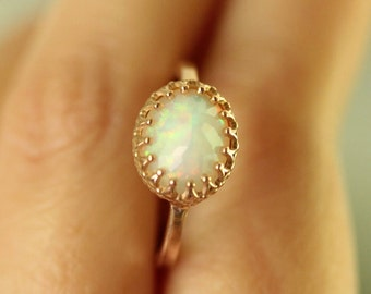 Rose Cut Opal 14K Rose Gold Engagement Ring, Gemstone Ring, Stacking Ring, June Birthstone - Made To Order